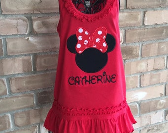 Minnie Mouse dress, red knit ruffle dress, Disney applique personalized clothing