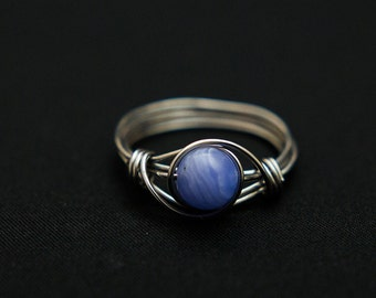 Blue Lace Wire Wrap Ring