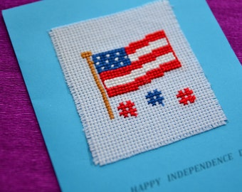 for Independence Day - Independence Day American flag card gift handmade card, cross stitch card, greetings card, gifts,  cross stitch gifts