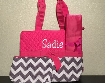 Chevron Print Monogrammed Diaper Bag Gray and White with Hot Pink Trim
