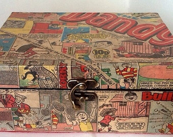Original Vintage Dandy Comic Book Decoupaged Wooden Keepsake Trinket Box
