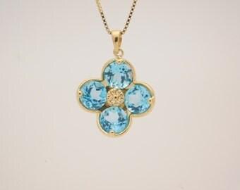 Ladies Flower Shape Blue Topaz Pendant & Necklace 18'' 14K