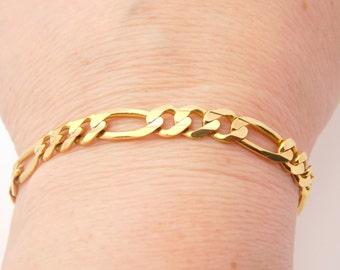 Man's Figaro 8 Inch 10K Yellow Gold Link Bracelet