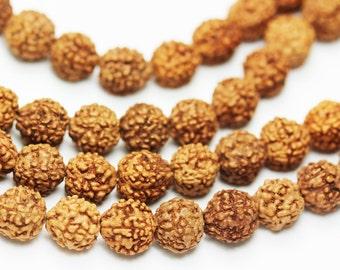 108pcs Natural Rudraksha Seed Mala Prayer Beads Strand, 8mm Round, -GEM0999