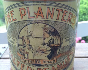 Vintage 1981 Planters Salted Peanuts Tin Can Container Planters Limited Edition Nostalgia Can Commemorative Can 75th Anniversary Collectible