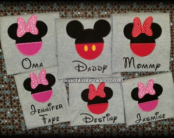 Personalized Family Disney Shirts - Embroidered Disney Shirts - Mickey Mouse Shirt - Minnie Mouse Shirt - Disney Trip Shirts - Custom Disney