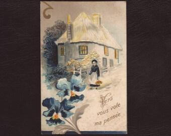 Cottage in the snow, German postcard - Embossed, blue iris, flower, antique postcard, greeting card - 1907 (V7-16)