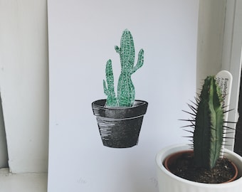 Botanical collection - Cacti in a pot : handprinted and handmade original print