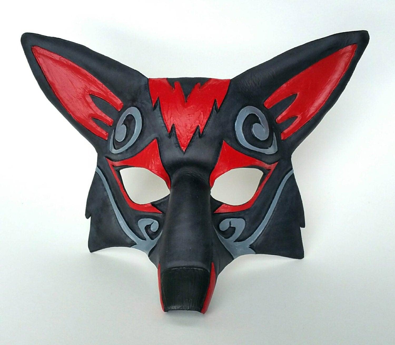 ornate leather fox mask zoroark style kitsune mask red and. Black Bedroom Furniture Sets. Home Design Ideas