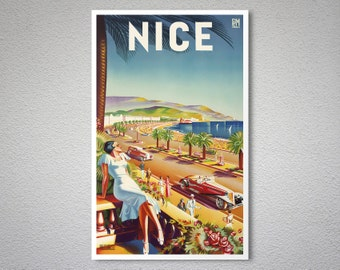Nice  France  Travel Poster - Poster Paper, Sticker or Canvas Print