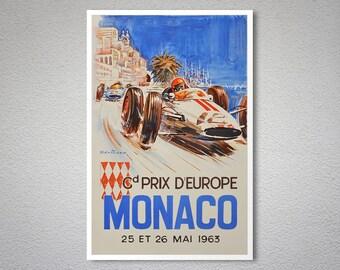 Grand Prix d'Europe Monaco, 25 et 26 Mai 1963 - Vintage Grand Prix  Poster - Poster Print, Sticker or Canvas Print / Gift Idea