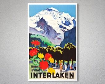 Interlaken, Switzerland Vintage Travel Poster, 1930 - Poster Print, Sticker or Canvas Print