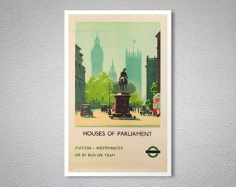 Houses of Parliament Vintage Travel Poster, 1936 - Art Print - Poster Print, Sticker or Canvas Print