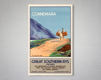 Connemara, Ireland Vintage Travel Poster - Poster Print, Sticker or Canvas Print