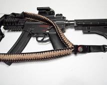 """550 Paracord Rifle Sling with Compass & Flint Firestarter Clasp 50"""" Single Point Gun sling (Desert Camo)"""