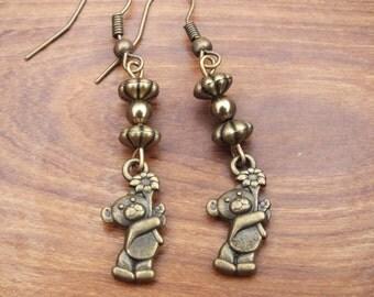 Teddy bear earrings, bronze earrings, teddy and flower earrings