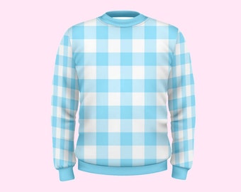 huge gingham print sweatshirt | pastel kawaii plus size fairy kei summer spring mahou kei pop kei