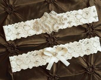 Crystal Wedding Garter Set, Bridal Garter Set, Ivory Wedding Garter, Ivory Lace Garter, Keepsake Garter, Toss Garter, Rhinestone Garter Set