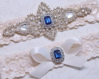 Blue Wedding Garter, Something Blue, Rhinestone Garter, Crystal Bridal Garter Set, Ivory or White Lace Garter, Keepsake Toss Garter, Prom