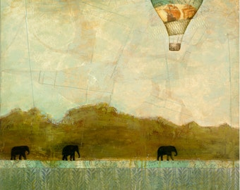 Elephants and Hot Air Balloons Print