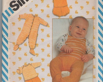 Infants Coveralls, Pants, Shirt,  Layette Sewing Pattern for Stretch Knits  Size Newborn  - 24 Pounds Uncut