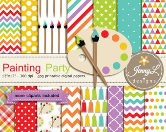 Painting, Art, Digital Paper and Clipart, Easel, paint tube, brush, palette ART Birthday Party, Invitations, Scrapbooking Party