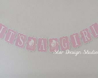 Baby Shower Girl Banner  Pink & White- Carriage theme
