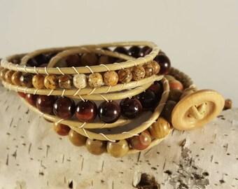 Tiger eye and jasper wrap bracelet