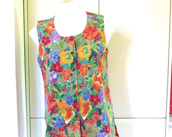 90s gaudy tank top, button up blouse, women's shirt blouse, floral top, Dolina Petites, 12 S Medium, colourful flowers, 616/459