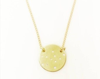 CONSTELLATION Circle Necklace // Wedding + Birthday + Anniversary + Astrology + Zodiac + Bridesmaid + Cancer + Leo Gold Handstamped Jewelry