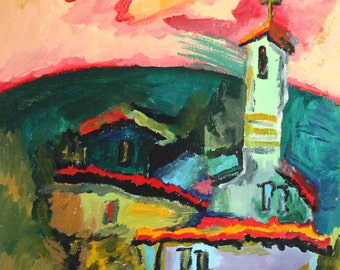 Expressionist landscape church oil painting signed