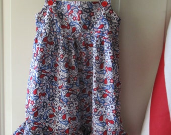 Girls Patriotic Dress - Patriotic Sundress for 3-5 Year Old - 3T Size Sundress - Red, White and Blue Paisley Sundress - Girls Sewn Sundress