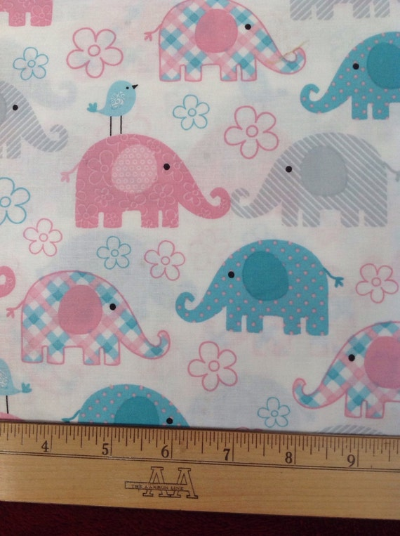 Elephant fabric child 39 s play white fabric with pink for Childrens elephant fabric