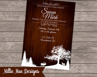 SALE 25% OFF Custom Rustic Winter Wonderland Wedding Invitation