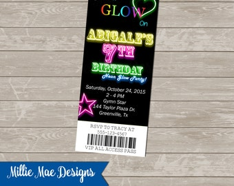 SALE 25% OFF Custom Glow In The Dark - Neon - Ticket - Party Invitation