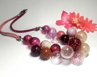 Beaded Jewelry Handmade Lampwork Necklace. Pink, fuchsia, magenta, amethyst, cranberry. Frosted beads Hollow balls.