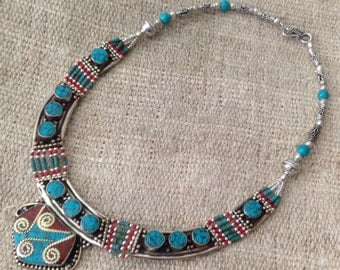 Ethnic Turquoise Coral Necklace