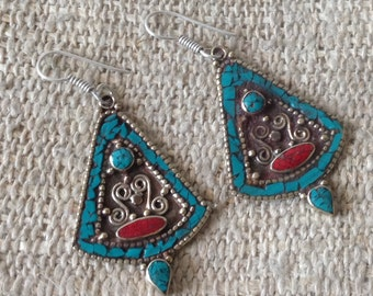 Vintage Turquoise Coral Earring
