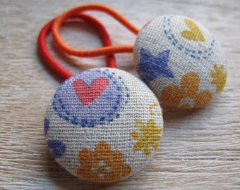 Fabric Covered Button Hair Elastic – Love Heart (Set of 2)