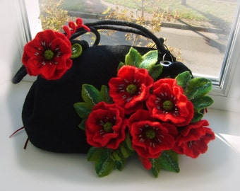 Felted wool bag -Felted wool purse-Felt handbag- bag Red poppies-Wet felted bags-black