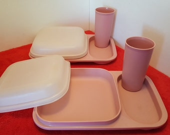 Vintage tupperware trays, child's tupperware tray, pink tupperware snack trays #1837 and #116