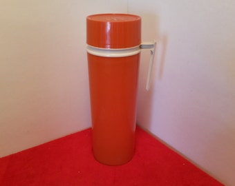 Vintage orange thermos brand tall insulated thermos, coffee thermos