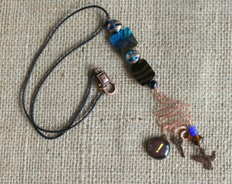blue glass and hammered copper mixed-media necklace