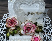 Elegant Anniversary Card, OOAK, Handmade, Easel Card, Roses, Love