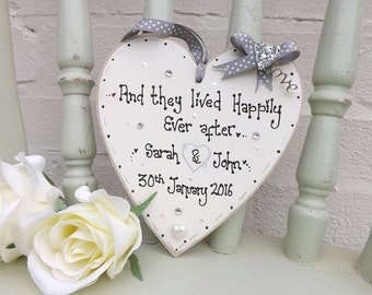 Personalised and they lived happily ever after, Heart Plaque Wedding/ Anniversary gift