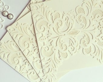 DIY Ivory Pearlescent Lasercut Invitation ONLY