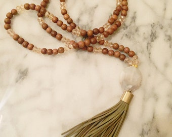 Hunter Green Leather Tassel Necklace