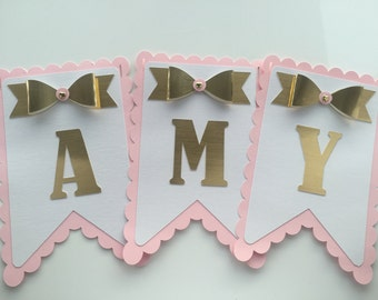 Scalloped Personalised Banner with Bows - Baby Showers/Christenings/Birthdays