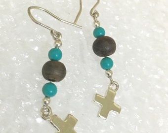 Cross Faux turquoise wooden beads  925 silver dangle earrings