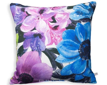 Designers Guild Oriana Blue Pink Charcoal Floral Sofa Cushion Pillow Cover